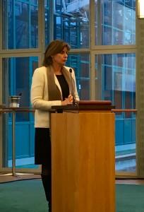 Isabella Lövin, minister för internationellt utvecklingssamarbete och klimat, på lanseringen av det nya policyramverket.